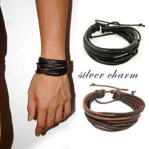 2pcs Unisex Charm Surfer Tribal Wrap Multilayer Genuine Leather Bracelet For Men Women
