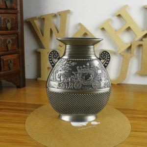Fashion European Style Home Decoration carving Vintage metal flower vase Tabletop Pewter Flower Vase Art craft Gift