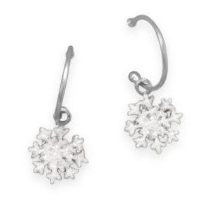 Glitter Snowflake Charm Earrings