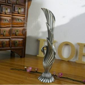 New Fashion Wedding Gift Home Decoration carving swan flower vase Tabletop Vintage Metal Flower Vase Art craft Gift