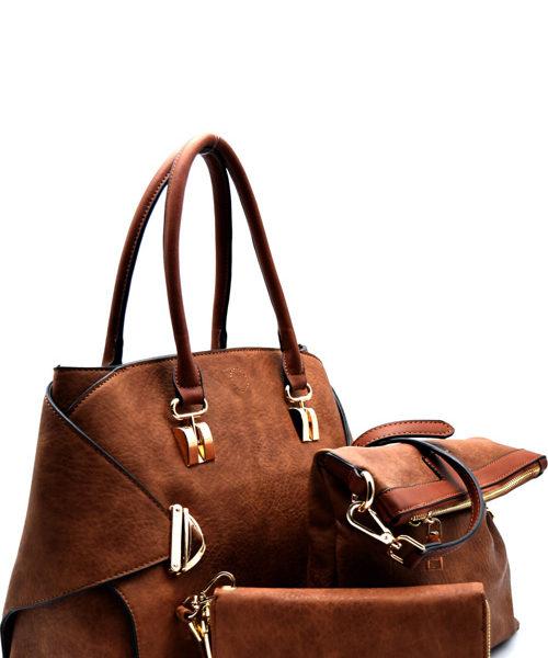 push-lock-accent-2-in-1-satchel-set-brown