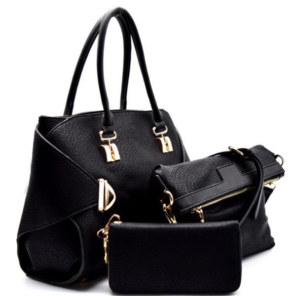 push-lock-accent-2-in-1-satchel-set-black