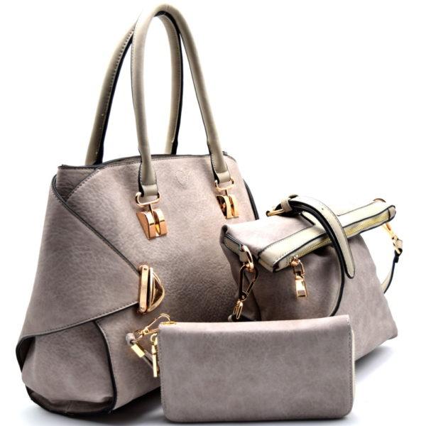 push-lock-accent-2-in-1-satchel-set-gray