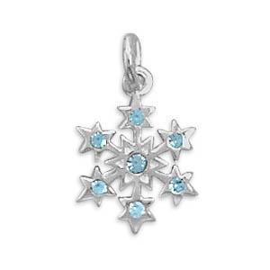Small Aqua Crystal Snowflake Charm