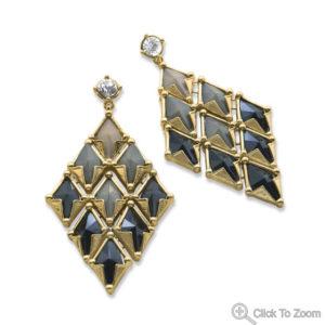 Tan and Black Enamel Diamond Shape Fashion Earrings