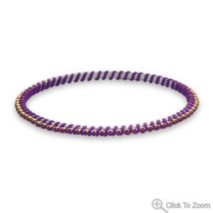 Two Tone Fashion Bangle Bracelet with Purple Crystal Purple