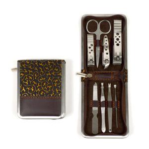 8pc Travel Grooming Manicure Set Vine Design Case