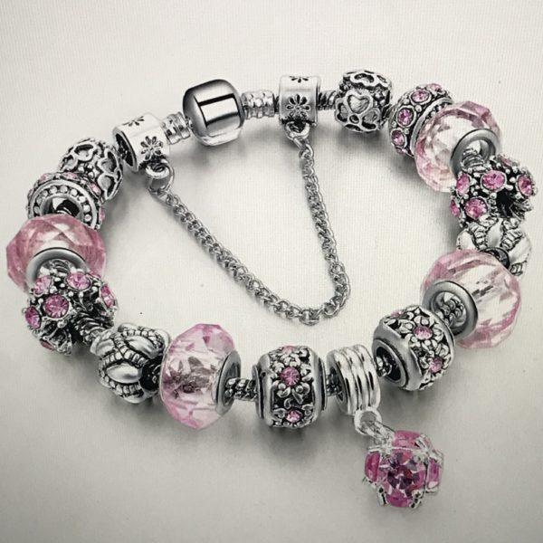 Women pink charm bracelet