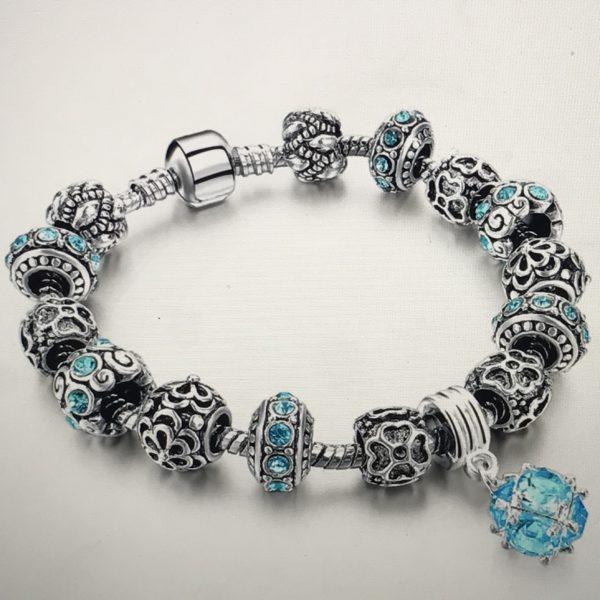 925 Sterling Silver women Charm Bracelet blue