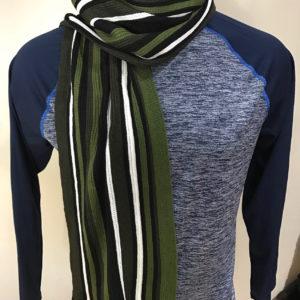 Scottish Olive Green Striped Winter Men Women Scarf
