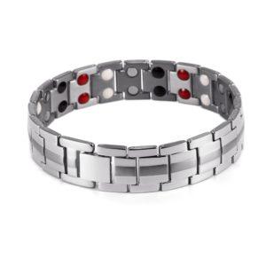 "Cold Stone Fashion Jewelry Men Magnetic Titanium Bracelet  8.5"" Silver Bracelets"