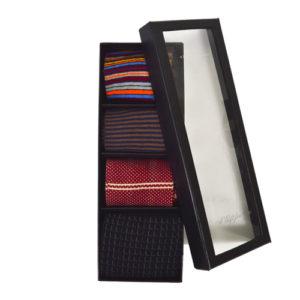 Multi Colored Fancy Men Dress Socks Gift Box Set of 4 Pairs Premium Socks