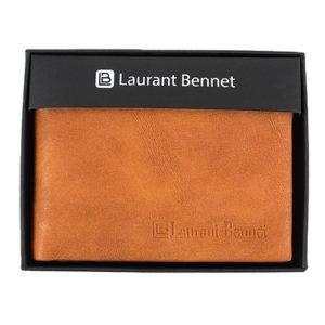 Light Brown Leather Mens Bi-Fold Boxed Wallet