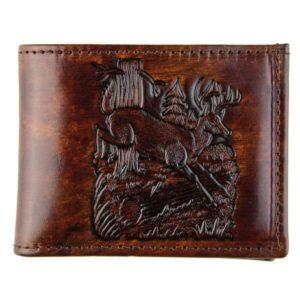 Made in USA Bi Fold Brown Genuine Leather Wallet Stamped Deer Design