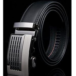 Genuine Leather Black Automatic Belt Dress Belt Adjustable and Removable Buckle