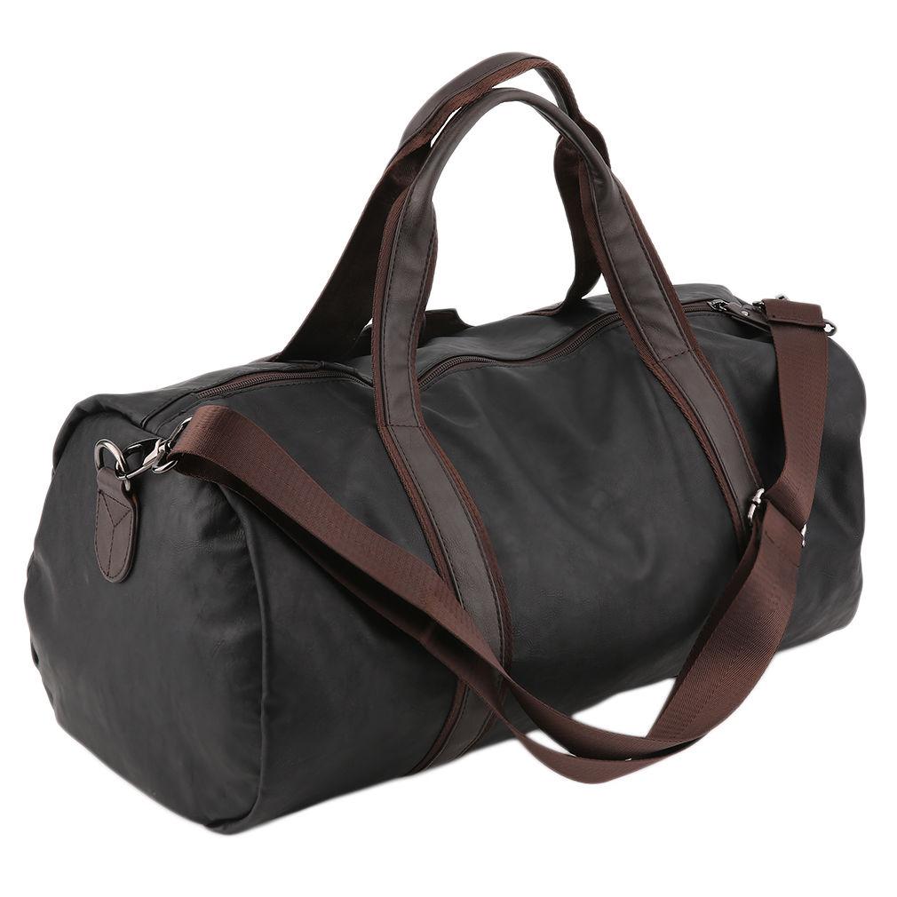 03d5738d57 21″ Black Leather Pebble Grain Duffle Tote Gym Travel Bag