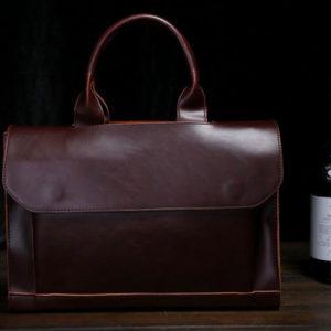 Mens Vintage Brown Leather Handbag Messenger Bag Shoulder Laptop Briefcase