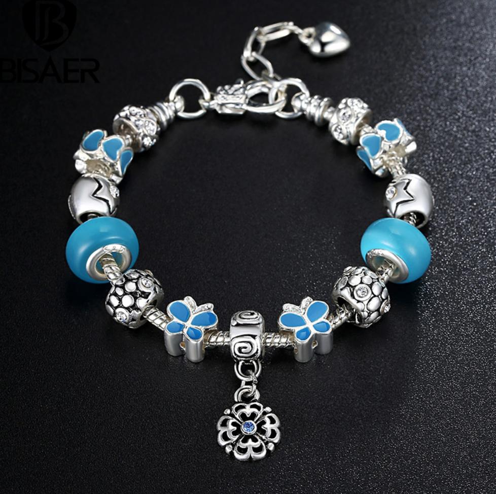 Blue Charm Bracelet: 925 Silver Plated Charm Women Bracelet Blue Butterfly