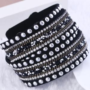 Genuine Leather Multi Crystal Fashionable Women Bracelet