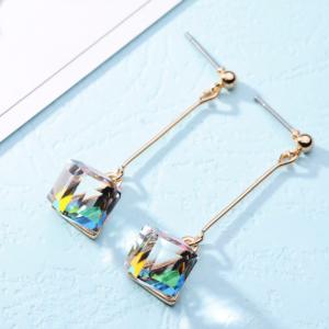 Women Hanging Earring Colored Crystal Cube Dangle Earrings