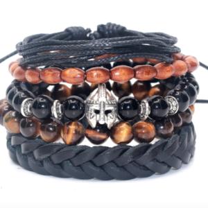 5Pc Men Bracelet Set Genuine Leather Tiger Eye Onyx Wood Beads Gladiator Set