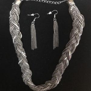 Women Braided Metal Rhinestone Fashion Necklace Earrings Set