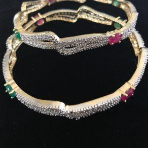 2 Pc Set Fashion Gold Color Bracelets CZ stones