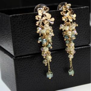 Classic Long Statement Flower Beads Tassel Earrings