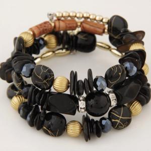 Handcrafted Black Bohemian Beach Bracelets Natural Stone Sea Shell