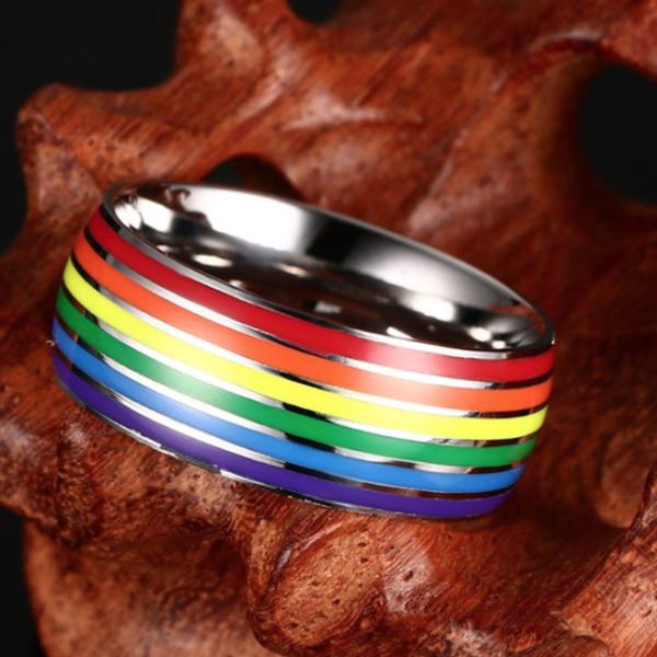 gay rings, unisex rings, LGBT rings, rainbow LGBT bands, LGBT bands