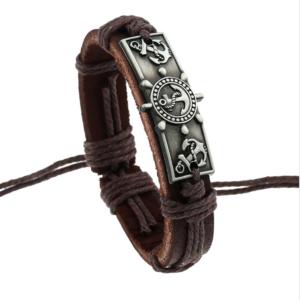 Vintage Marine Silver Anchor Genuine Leather Handmade Mens Bracelet