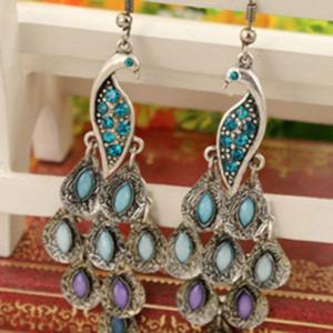 Handmade Bohemian Peacock Retro Style Women Pierced Drop Earrings