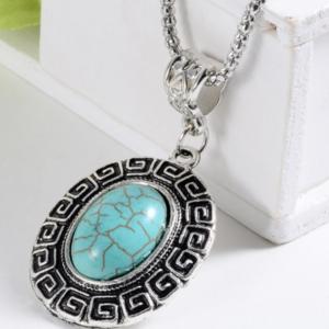 Tibet Silver Blue Stone Women Necklace Bohemian Style Necklace