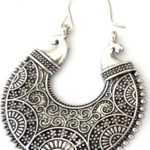 Pair Round Vintage Style Detailed Tibetan Silver Color Drop Earrings