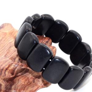 Unisex Bracelet Natural Carved Stone Black Stone Bracelet