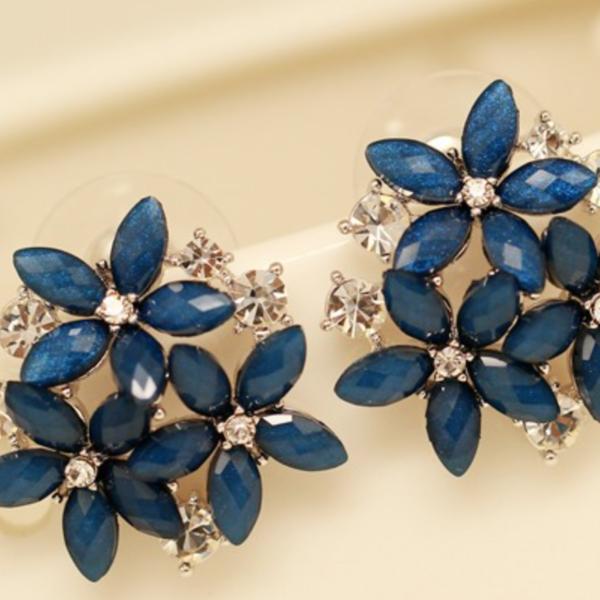 blue stud earrings, women flower stud earrings
