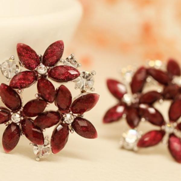 red flower crystal earrings
