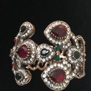 Women Expandable Fashion Bracelet CZ stones colored gems Copper Tone
