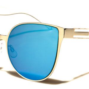 Women Cat Eye Flat Lens MIRRORED Sunglasses 100% UV 400 w/FREE Case
