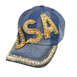 "Bling Studs Denim Adjustable ""USA"" Hat Cap Bling Summer Baseball Cap"