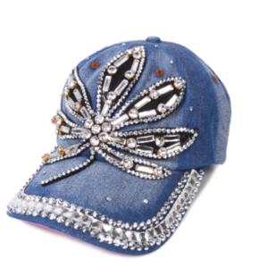 "Bling Denim Adjustable ""Plant"" Cap Rhinestone Jewels Bling Summer Baseball Cap"