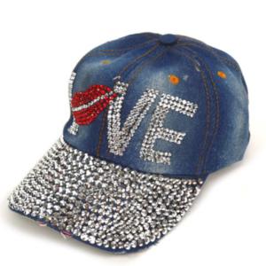 "Bling Denim Adjustable Cap ""Love"" Rhinestone Bling Summer Baseball Cap"