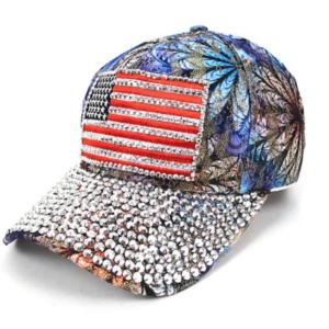 """Bling Bling Studs Adjustable Blue Flower """"AMERICAN FLAG"""" Baseball Bling Cap"""