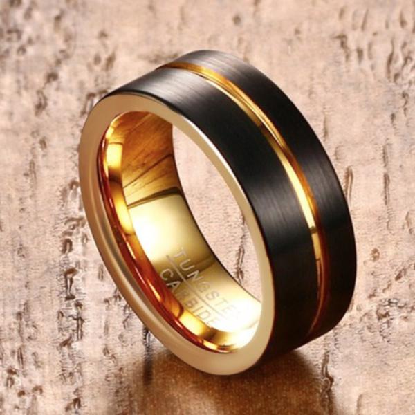 tungsten men wedding band, tungsten luxury rings, tungsten black rings