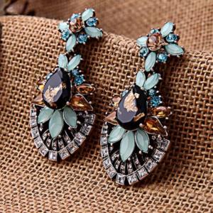 Chandelier Glass Drop Earrings Flowered Glass Earrings