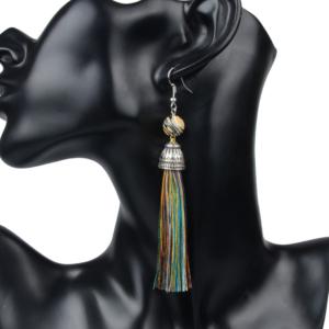 Vintage Style Natural Stone Agate Women Tassel Drop Earrings