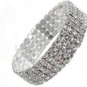 Crystal Rhinestone Women 4 line Stretch Bracelet Women Bling Bracelet