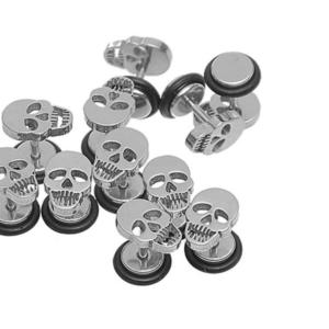 Punk Gothic Stainless Steel Barbell Skull Ear Studs Earrings