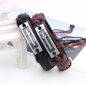 1 Pair Unisex Men Women Genuine Leather Bracelets Christian Bracelets Religious
