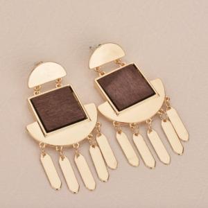 Vintage Women's Square Wood Drop Earrings